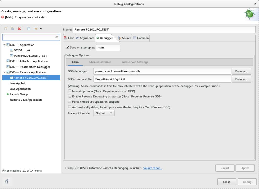 Configurazione debugger remoto